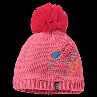 PAW KNIT CAP KIDS-coral pink-M
